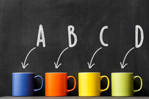 Choice a colorful coffee cup